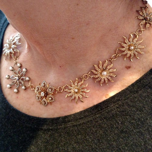 gold necklace with diamonds and pearls