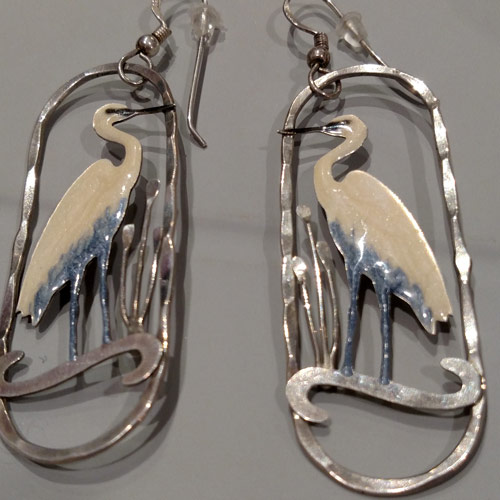 silver flamingo earrings