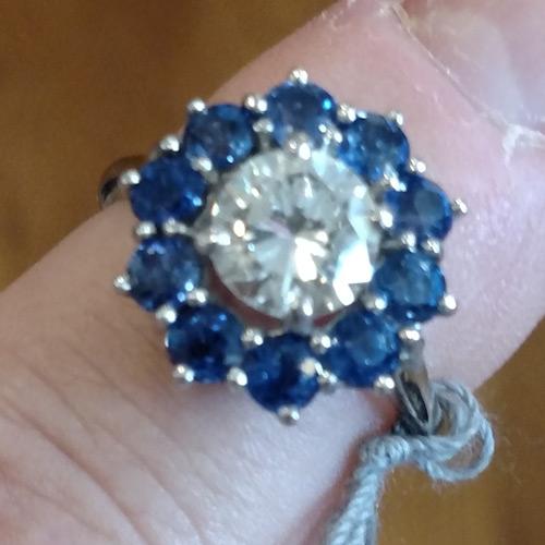 Platinum diamond Burmese sapphire Cartier ring