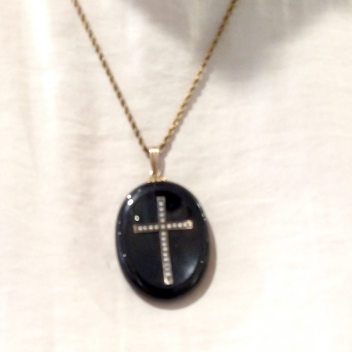 Black Cross Necklace Onyx