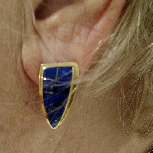 Blue and Gold Earrings lapis