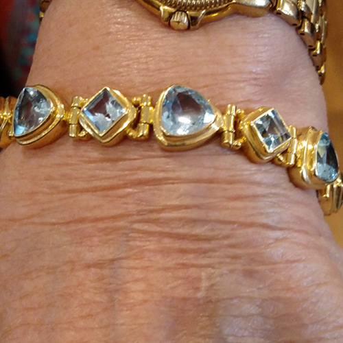 topaz, gold and sterling bracelet