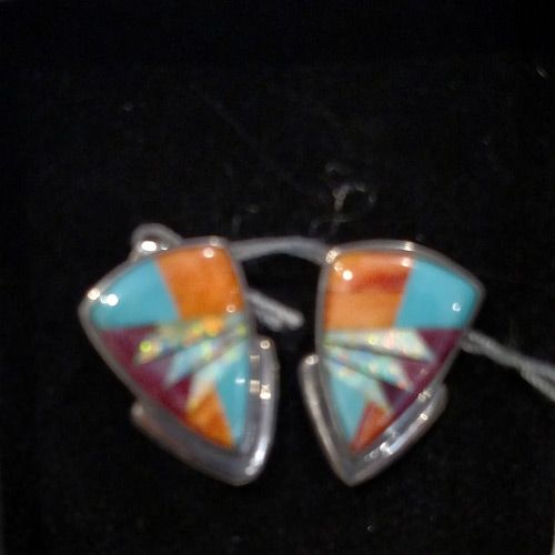 turquoise, opal, sponge coral earrings