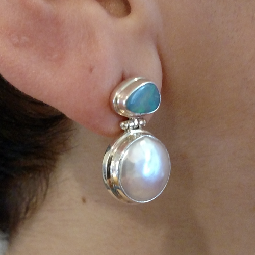 Sterling opal and pearl earrings