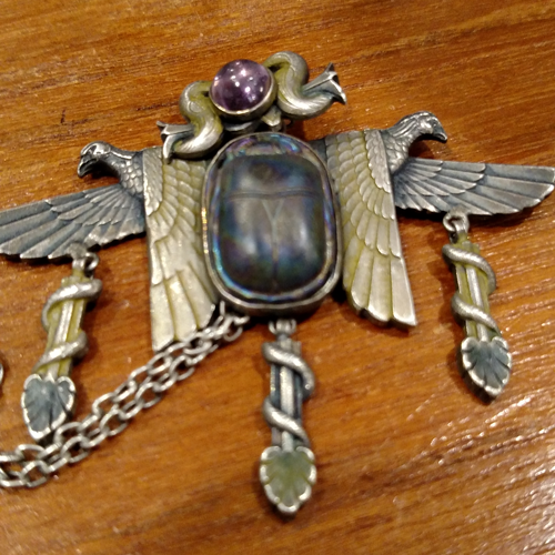 Egyptian Revival, France 1921 art glass pendant