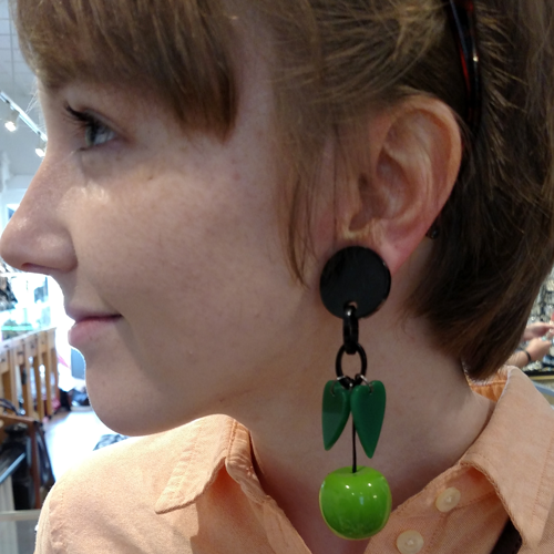 Galalith green apple earrings from Paris