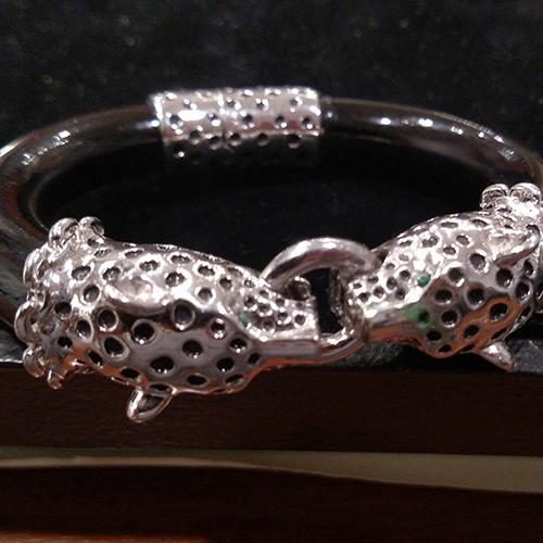 Black enamel Jaguar bracelet.