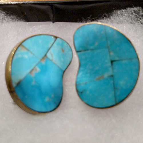 Vintage Celia Sebiri turquoise intarsia earrings.
