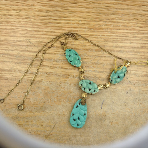 Antique carved turquoise and 18K necklace