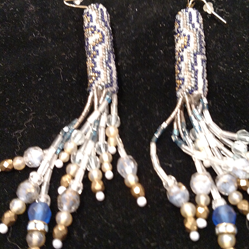 Peyote stitch and gemstone earrings by Natalie Taiz.