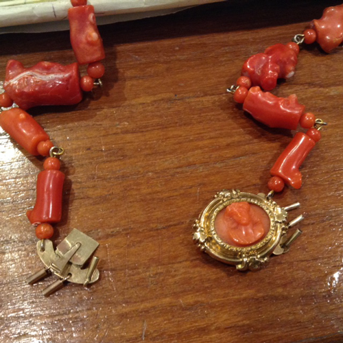 18K carved coral cameo clasp.