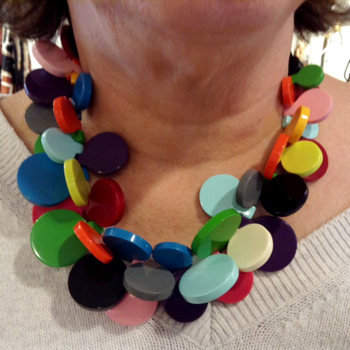 Galalith multicolor disk necklace from Paris.
