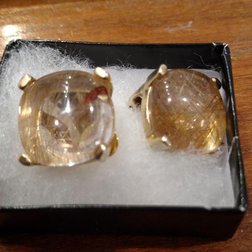Rutilated gold quartz earrings.