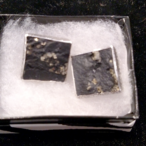 Amy Kahn Russell sterling, pyrite, 18K and slate earrings.