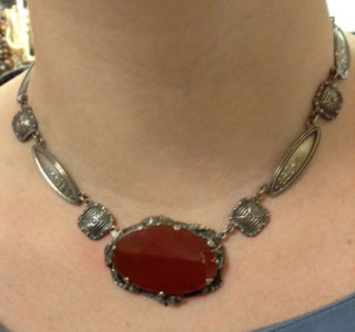 Art Nouveau sterling and carnelian necklace