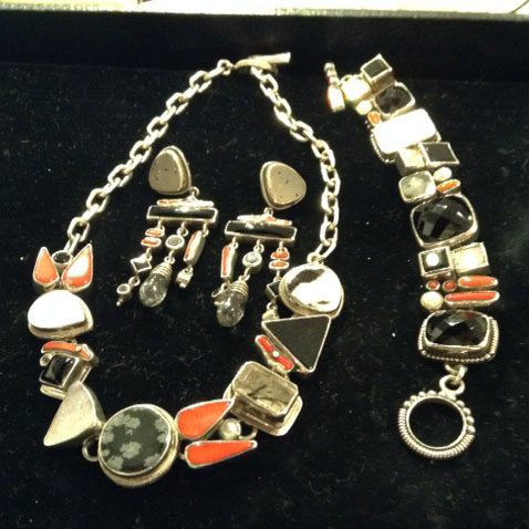Margaret Thurman, Echo of the Dreamer necklace, bracelet and earrings' set in sterling silver, onyx, rutilated quartz, pearl and coral.