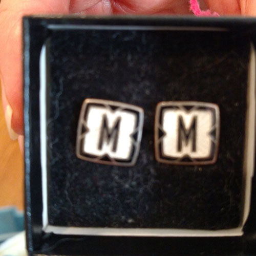 "Antique sterling and enamel ""M"" cufflinks converted to earrings by DIVA"