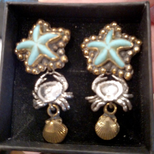 Echo of the Dreamer sterling turquoise starfish earrings