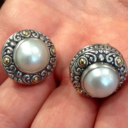 Samuel Benham mabe' pearl earrings in sterling and 18k gold
