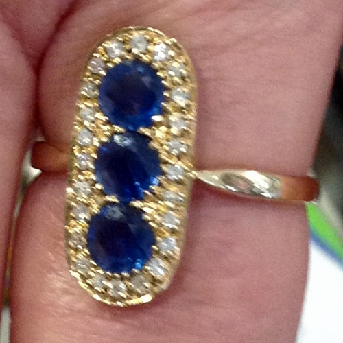 antique 14K gold ring with 3 Ceylon sapphires and diamonds