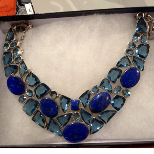 blue topaz lapis sterling necklace