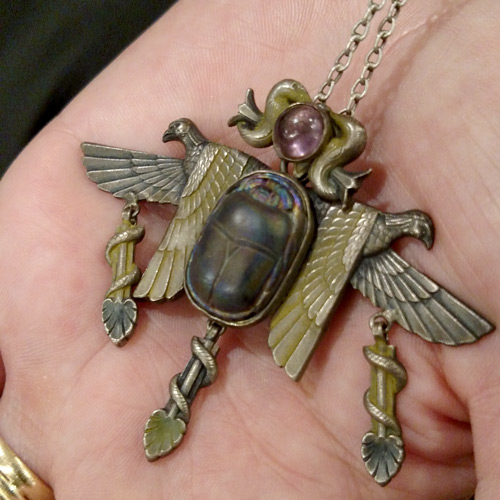 egyptian revival french art glass scarab pendant