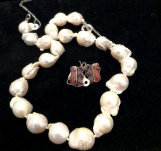 Fresh water baroque pearls sterling