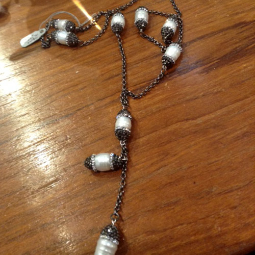 pearl crystal tassle necklace