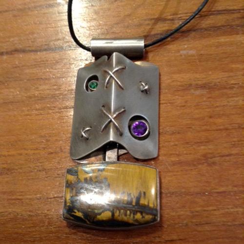 sterling opal tourmaline pendant
