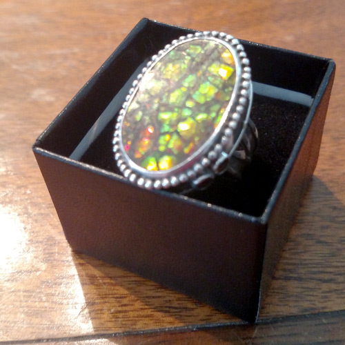 sterling topaz ammolite ring
