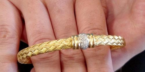 Hand-woven 18k and diamond bracelet