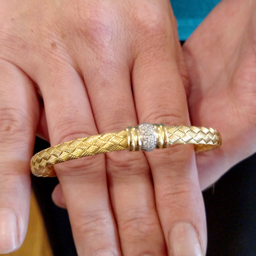 Hand-woven 18k and diamond bracelet