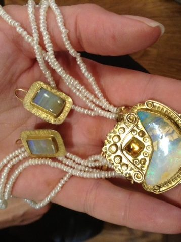 Vintage 14k, antique seed pearl and milk opal necklace and earrings by Tzipora Hoynik.