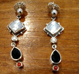 Echo of the Dreamer Sterling, Crystal, coral and onyx earrings.