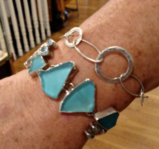 Margaret Thurman Sterling, blue seaglass and blue topaz bracelet.