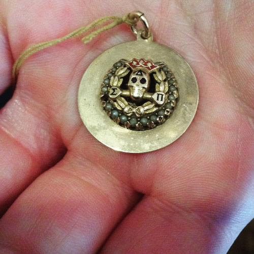 Vintage 14k Yale University Skull & Bones charm.